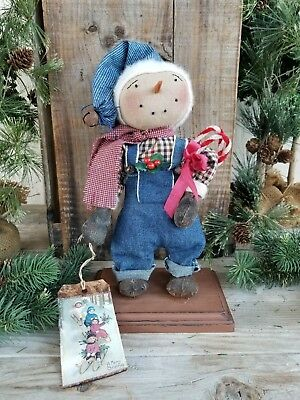 Primitive Christmas Standing Snowman Art Doll Blue Overalls Glittered Candy Cane
