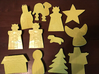 Christmas Nativity Cookie Cutter Set Of 12 Yellow Preowned