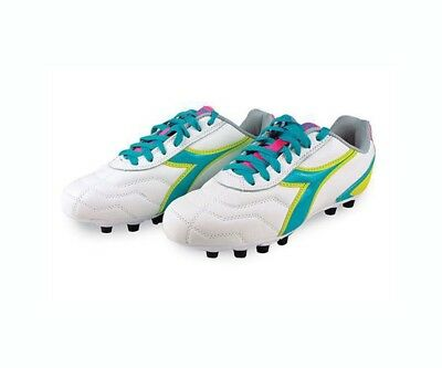 Diadora Capitano LT MD PU Womens Soccer Cleats 8.5 White Teal Yellow Pink b61f36d1a