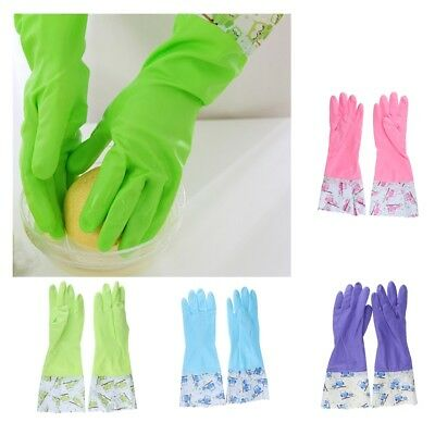 Heavy Duty Rubber Latex Gloves Household Industrial Flock Washing Up Gloves