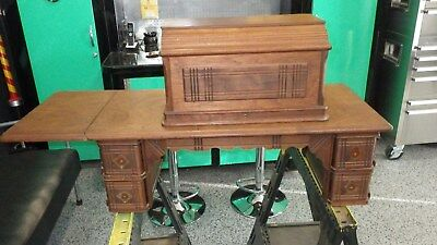 Antique Singer No. 137 Treadle Sewing Machine Cabinet Coffin Top w/ Drawers