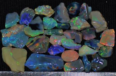 100 Cts Solid Gem Quality Lightning Ridge Rough And Rough Rubbed Opal Parcel 74