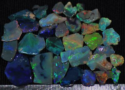100 Cts Solid Gem Quality Lightning Ridge Rough And Rough Rubbed Opal Parcel 75