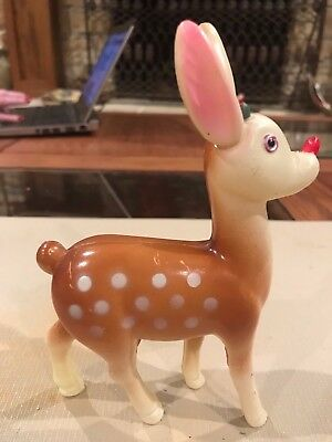 "Vintage Plastic Christmas ""Rudolph the Red Nose Reindeer"" Circa 1950's"