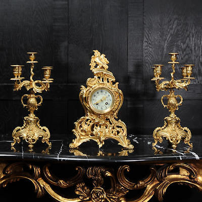 Rococo Antique French Gilt Bronze Clock By Samuel Marti C1890 Fully Working