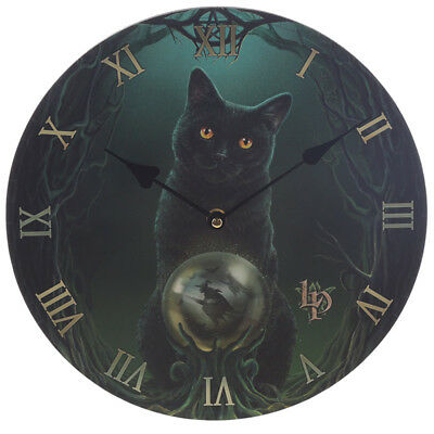 Rise Of The Witches Crystal Ball Pentagram Black Cat Lisa Parker Art Wall Clock