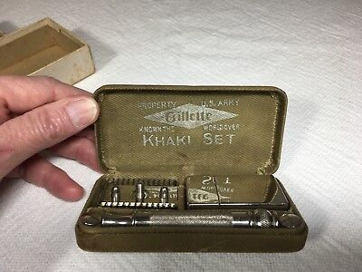 Vintage Safety Razor - 1918 Gillette WWI Khaki Service Set w/ Original Box
