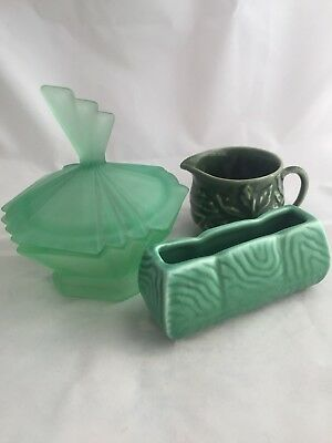 Three  Dressing Table Items, 1930s-1960s. Art Deco Onwards