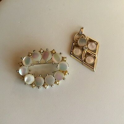 Lot Of Two vintage MOP Pieces Of Costume Jewelry, Brooch And Pendant
