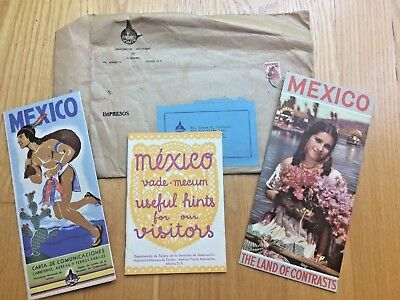 Mexico Travel Packet 1946 Hints For Visitors, Foldout Map, Land Of Contrasts