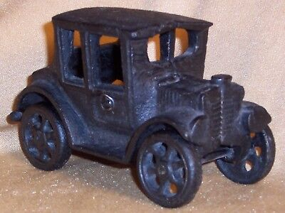 "Antique CAST IRON TOY Black MODEL T CAR AUTO All Metal No Mark No Rust 3"" x 5"""