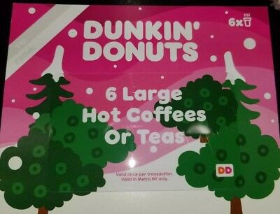 Dunkin Donuts 12 Large Hot Coffees/Teas Gift Card No expiration (2-Cards)
