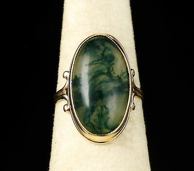 Antique Vintage Estate Natural 21.0Mm X 12.0Mm Moss Agate Solid Yellow Gold Ring