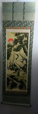 Japanese hanging scroll art cranes and turtles Mural