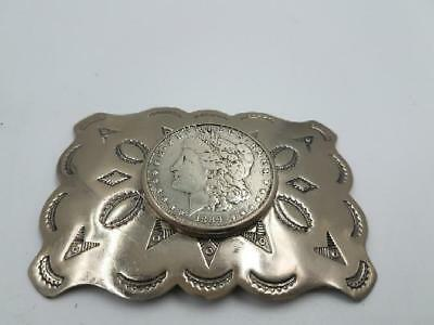 Western Nickel Silver Belt Buckle With 1889 Morgan Dollar (AP1054690)