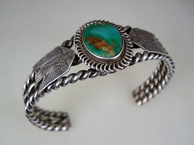 OLD HAND MADE Fred Harvey era STERLING SILVER & TURQUOISE THUNDERBIRD BRACELET