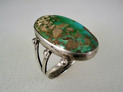 EARLY NAVAJO STERLING SILVER & NATURAL GREEN TURQUOISE RING sz 6