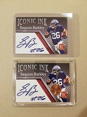 Lot of 2 Rookie Saquon Barkley Lincoln Penny & Autograph Custom Cards