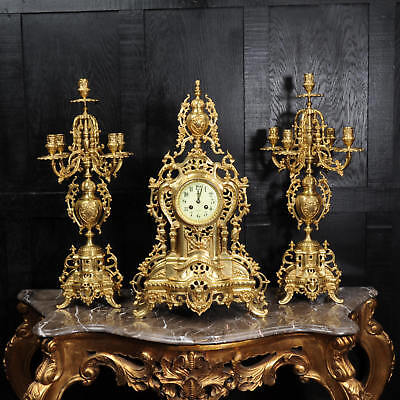 Large Antique French Gilt Bronze Clock Set by Louis Japy C1880