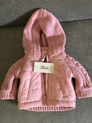 BEBE BY MINIHAHA Designer Baby Girl Pink Knit Jacket Size 000