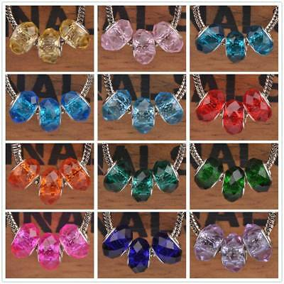 5pcs 13x9mm Faceted Large Hole Lampwork Glass Beads European Bracelet Findings