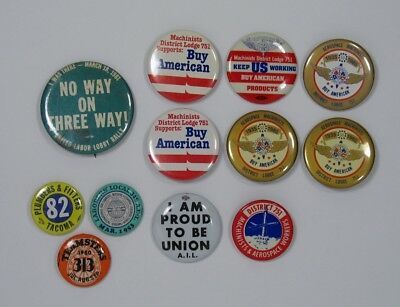 Lot Vintage Pinback Buttons 70s 80s Buy American Union IBEW machinists wa state