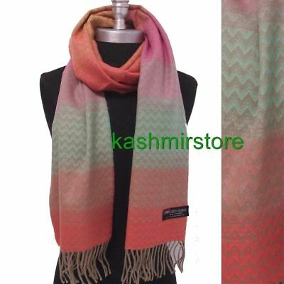 Brand New 100% CASHMERE SCARF Chevron RAINBOW Pink/green/Coral MADE IN SCOTLAND