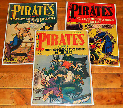 3x PIRATES COMICS no.1 3 4 lot Hillman 1950 rare Pre-Code Notorious Buccaneers !