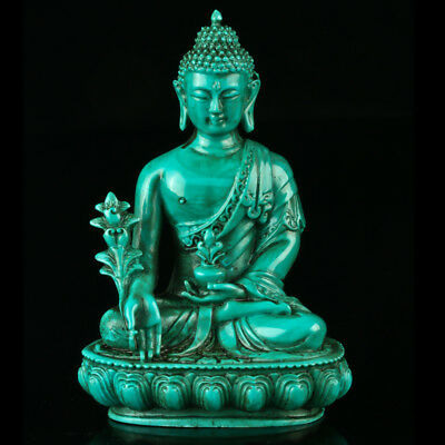 Chinese Turquoise Hand-carved Kwan-yin Buddha Statue R4026