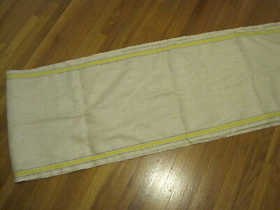 5-1/2 Yards VTG LINEN TOWELING DISH TOWELS FABRIC YELLOW STRIPE