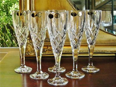Boxed Set of 6 glamorous BOHEMIA crystal flutes. diamond cut pattern NEW