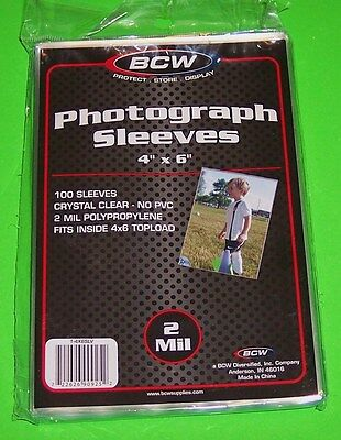 100 4X6 Photo Sleeves-Crystal Clear-Archival Safe-Acid Free-2 Mil Thick- By Bcw