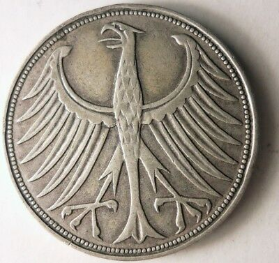 1951 D GERMANY 5 MARKS - High VALUE DATE SILVER Coin - SCARCE - Lot #D14