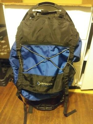 Outdoor Products External Frame Backpack Dragonfly 8.0 Blue Hiking Trekking VGC