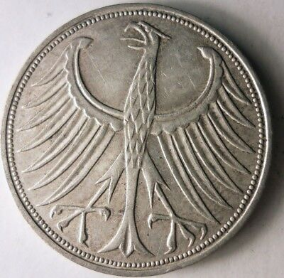1970 F GERMANY 5 MARKS - High Quality High Value Silver Coin - SCARCE - Lot #D14
