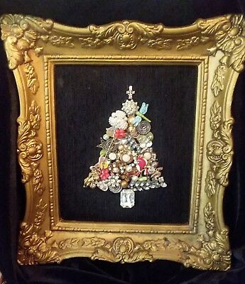Costume Jewelry Collage VIntage Framed Picture CHRISTMAS TREE Rhinestones, Pins