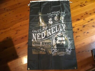 NED KELLY Banner sign man cave flag NEW  pool room flag wall hanging VLAD laws