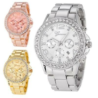 HOT Luxury Geneva Watch Women's Date Stainless Steel Quartz Analog Wristwatch
