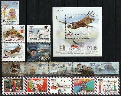 Chile 2018 Complete year  13 MNH stamps + 1 Block