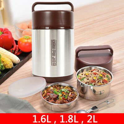 NEW1.6L 1.8L 2L 3 Tier Vacuum Insulated Thermal Lunch Box Thermos Food Container