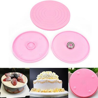 Plastic Revolving Rotating Cake Decorating Stand Swivel Plate Turntable F1BC