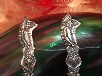 VTG Sterling Silver Indian Head Souvenir Spoons Fort William  X2