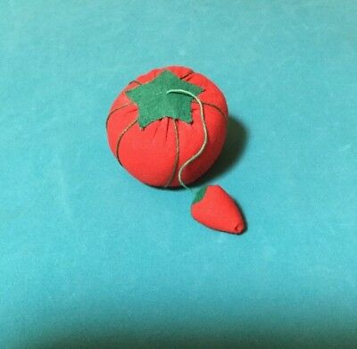 Vintage small Tomato Pin Cushion with strawberry needle sharpener