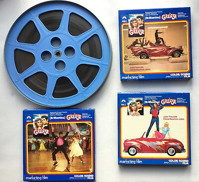 "Super 8mm Sound Film - Grease - Three 7"" Reels Spliced to One 12"" Reel"