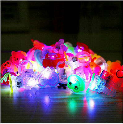 10pcs/lot Cute Kids Child LED Light Up Flashing Finger Rings Glow Party Favor NT
