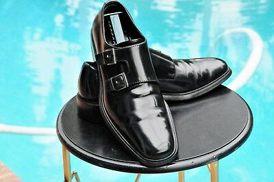 GUCCI Men's Black Side double Buckle Gucci  Leather Dress shoes Italy Sz8.5 D