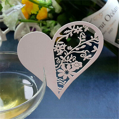50x Love Heart Name Place Cards For Wedding Party Table Wine Glass