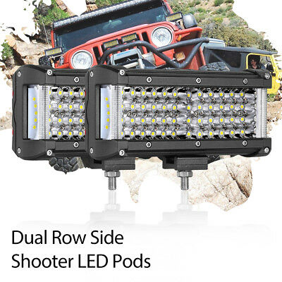 800W 7in Work Pods LED Light Bar Side Shooter Offroad Boat Truck ATV 6000K 4Rows