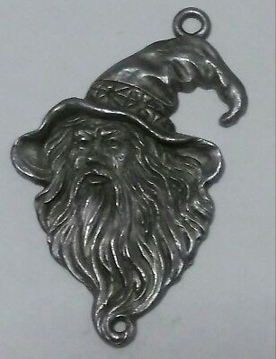 Gallo Wizard Face Pewter Pendant Charm Fantasy Magical Whimsical Vintage 1989