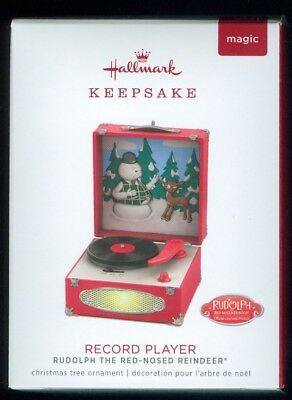 2018 Hallmark Rudolph The Red Nose Reindeer Record Player Ornament